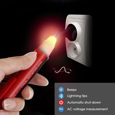 INTEY Voltage Tester Non Contact Voltage Detector Volt Pen with Flashing LED Light Indicator 90-1000V - - Amazon.com Led, Amazon, Amazons, Riding Habit, Amazon River