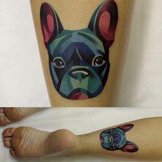 Tattoo origami colorful bulldog