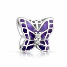 925 Silver Butterfly Purple Enamel CZ Charm Bead Pandora Compatible