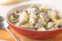 Creamy Potato Salad Made Over recipe. I add dill pickle juice to dressing, and chopped pickles and celery to salad.
