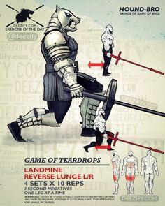 leg exercise: landmine reverse lunge hound