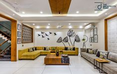 Design Discover Residence Accentuating Spaces in Frames and Cubes Ceiling Design Living Room, Home Room Design, Living Room Designs, Kitchen Design, Sofa Design, Wall Design, Furniture Design, Interior Design, Living Room Tv Unit