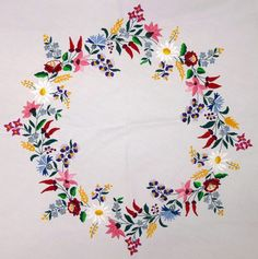 terítő 794x800-as (poszata.hu) Hungarian Embroidery, Folk Embroidery, Learn Embroidery, Embroidery Stitches, Embroidery Techniques, Shirt Embroidery, Floral Embroidery Patterns, Hand Embroidery Designs, Folk Art Flowers