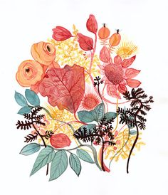 Large modern botanical art print