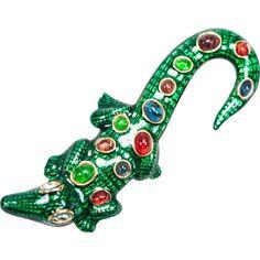 Kenneth Jay Lane Alligator Pin Green/multi x6gub