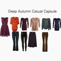 Deep Autumn Casual Capsule - - A 10 item casual wardrobe capsule for deep autumns. Shoes, accessories and outerwear are not included. You may find you want to add a couple of cardigans or bla. Capsule Wardrobe Casual, Capsule Outfits, Fall Wardrobe, Fall Outfits, Autumn Look, Soft Autumn Deep, Dark Autumn, Deep Autumn Color Palette, Seasonal Color Analysis
