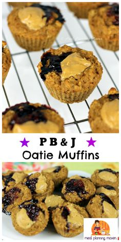 P B & J Oatie Muffins l Meal Planning Maven's Blog P B & J!! Two of your favorite childhood comfort flavors...in a muffin?? YES indeed!! Better quickly grab one for yourself as I can promise these yummies will be gobbled up by your family in a flash!
