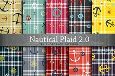 Nautical & Plaid Graphics Ten nautic themed Photoshop patterns, featuring nautical icons in a blend of colors (**Nautical Pale by Digital Art Creations
