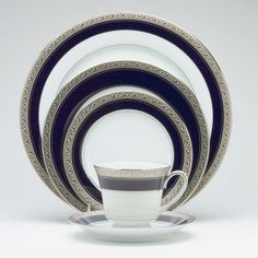 Noritake: Crestwood Cobalt Platinum, my daughter-in- law's classic china pattern