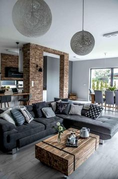 The essential topic of a contemporary home decor is simple, clean lines with an advanced contort. Contemporary home decor can be accomplished by negligible decorations and clean cut goods. Making a… Contemporary Home Decor, Contemporary Living Room Designs, Modern Decor, Home Living Room, Apartment Living, Rustic Apartment, Living Room Decor For Small Apartment, Living Room Brick Wall, Living Room Gray