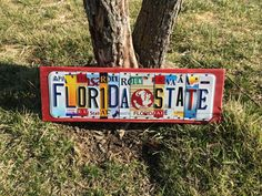 FLORIDA STATE University Recycled License Plate Sign Art made from license plates FSU