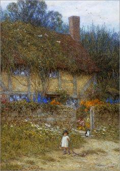Helen Allingham (de soltera, Helen Mary Elizabeth Paterson) (Inglaterra, 1848-1926). A Cottage near Godalming.