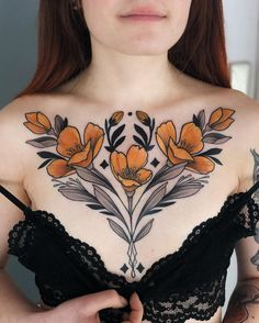 45 Creative Chest Tattoo Designs You Will Love To try – Page 30 of 45 – Chic Hostess Unique tattoo – Fashion Tattoos Pretty Tattoos, Unique Tattoos, Beautiful Tattoos, Small Tattoos, Tattoo Girls, Girl Tattoos, Chest Tattoos For Women, Chest Piece Tattoos, Female Chest Tattoo