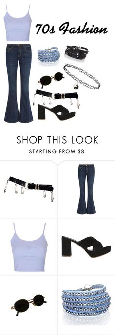 """70s Fashion"" by electraz on Polyvore featuring Versace, Current/Elliott, Topshop, Mansur Gavriel and Sif Jakobs Jewellery"