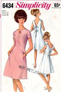 Simplicity 6434 Vintage 1960s Sewing Pattern Dress Princess Seams UNIQUE Back Detail Low V Back Inverted Pleat Bow Trim Size 14 Bust 34 UNCUT on etsy.com. jwt