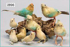 Spun cotton birds