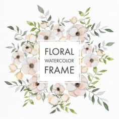 Frame with watercolor flowers Free Vector