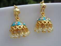 Turquoise Jhumkas with Pearls Meenakari Jumkas Casual by Alankaar