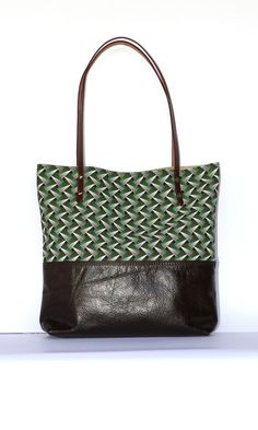 The Ana Tote || African Brown Leather Tribal Tote Bag with Shweshwe, Christmas Gift for her by ChameleonBags on Etsy