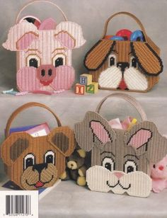 Totes-for-Tots-Annie-s-Plastic-Canvas-Pattern-87K27-Dinosaur-Puppy-Kitty-More