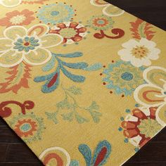 Hand-hooked Summer Daises Daffodil Indoor/Outdoor Floral Rug (5' x 7'6) - Overstock™ Shopping - Great Deals on Surya 5x8 - 6x9 Rugs