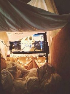 A pillow fort to watch movies in :-) http://www.pinterest.com/lilyslibrary perfect date day / night