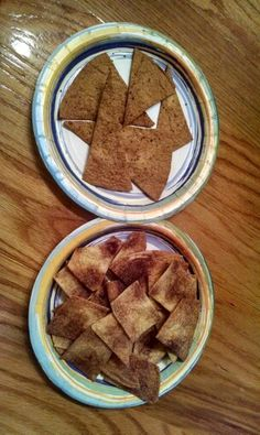 Homemade flavored Tortilla chips-  What you need: Cookie sheet Pizza cutter Wax paper Cutting board Flour tortillas (plain) Spray butter Seasonings of your choice  Preheat oven to 350 Spray cookie sheet with nonstick spray Spray butter on each side of tortilla Lay tortilla on cutting board and  sprinkle with yiur season choice.  (I made sea salt & garlic and cinnamon and sugar) Cut tortilla into chi/pcracker size pieces then place onto cookie sheet Bake for 10 to 13 minutes depending on how…