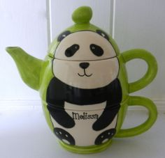 Hand Painted Personalised Ceramic Panda Tea for One Teapot and Cup Set Gift | eBay