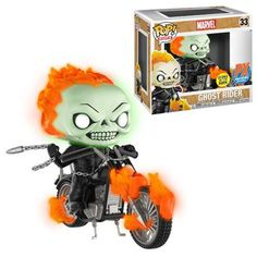 Marvel Classic Ghost Rider with Bike Glow-in-the Dark Pop! Vinyl Figure - Previews Exclusive [Pre-order]
