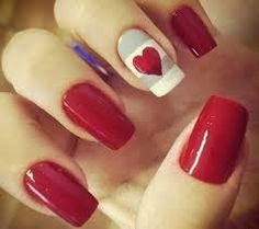 red with grey and white stripe and red heart nail art design Fancy Nails, Love Nails, How To Do Nails, Pretty Nails, Bling Nails, Red Nail Art, Red Nails, Red Art, Valentine Nail Art