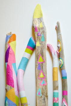 Painted Driftwood Sticks  5 Piece Collection by bonjourfrenchie