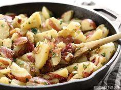 Warm German Potato Salad with Bacon Recipe (with Bacon!) - Budget Bytes Salad Recipes With Bacon, Potato Salad Recipe Easy, Salad Recipes Video, Bacon Recipes, Healthy Dinner Recipes, Soup Recipes, Potato Recipes, Easy Recipes, Potato Salad Mustard