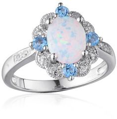 #zales.com                #ring                     #Oval #Lab-Created #Opal, #White #Sapphire #Swiss #Blue #Topaz #Ring #Sterling #Silver                  Oval Lab-Created Opal, White Sapphire and Swiss Blue Topaz Ring in Sterling Silver                                                http://www.seapai.com/product.aspx?PID=1113455