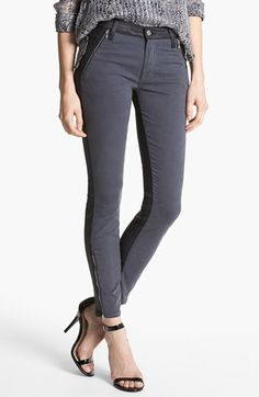 7 For All Mankind® 'Pieced' Contrast Back Skinny Jeans (Grey Jeather) available at #Nordstrom