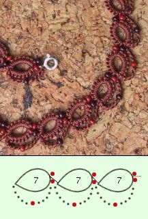 Diy Crafts - Note: cro-tat so may require some figuring. but pretty and simple. Split chain and maybe lock chain? Tatting Armband, Tatting Bracelet, Bracelet Crochet, Tatting Earrings, Tatting Jewelry, Tatting Lace, Bead Crochet, Filet Crochet, Irish Crochet