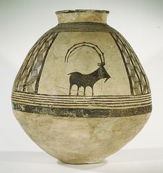 'Storage jar decorated with mountain goats (ibex),' Ceramic and paint, Chalcolithic period, c. 3800–3700 B.C. Central Iran
