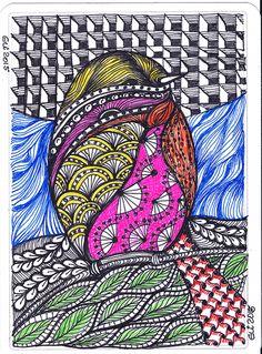Pássaro-3--postal -tec. zentangle...(com canetas coloridas)