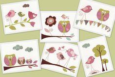 Baby room decor, children room decor, nursery art prints, baby nursery decor, baby nursery art, Owls, bird, tree, set of Six 8x10 in. prints. $78.00, via Etsy.