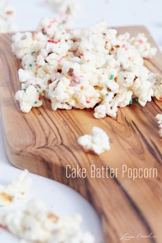 Cake Batter Party Popcorn 1/3 cup un-popped popcorn 1 cup melting white chocolate ½ cup dry yellow cake mix.