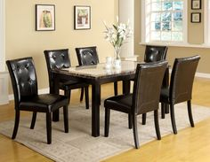 Amazon.com: Furniture of America Taveren 7-Piece Faux Marble Dining Table Set, Black: Home & Kitchen