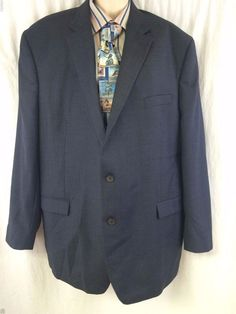LAUREN Ralph Lauren Sport Coat 50L Wool 2 Button Lined Vented Blue Windowpane #RalphLauren #TwoButton