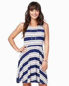 charming charlie   Sybil Striped Fit and Flare Dress   UPC: 100215560 #charmingcharlie