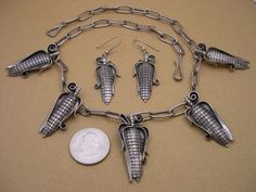 Large, J. Billie, Navajo, Sterling Silver, 19 Inch Corn Necklace/Earrings  #Handmade $295.00