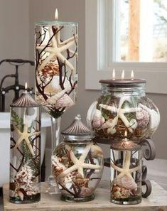 Lifetime Oil Burning Seashell Theme Candles from Crafty YankeeLifetime Oil Burning Seashell Theme Candles/ this would make a really cool resin project to preserve and jave forever.Distinctive Lifetime Oil Burning candles from White River Designs that Seashell Art, Seashell Crafts, Beach Crafts, Diy And Crafts, Seashell Candles, Seashell Decorations, Seashell Centerpieces, Seashell Display, Nautical Candles