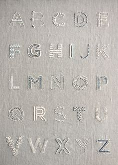 Learn to Embroider an Alphabet Sampler Purl Soho - Create - Sticken - Embroidery Alphabet, Hand Embroidery Videos, Embroidery Stitches Tutorial, Embroidery Patterns Free, Hand Embroidery Designs, Embroidery Kits, Cross Stitch Embroidery, Art Patterns, Flower Embroidery