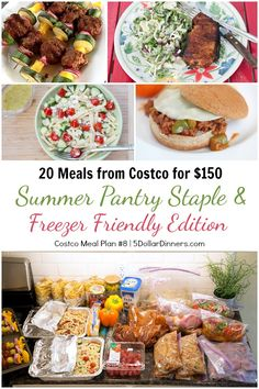 Summer Pantry Staple & Freezer Friendly Edition ~ 20 Meals from Costco for $150 Plan #8 | 5DollarDinners.com