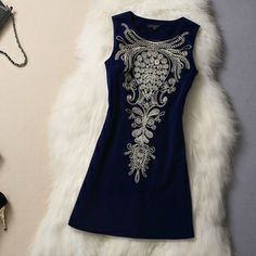 Blue Dress with Embroidery