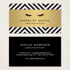 Glam Eyelashes with Bold Pattern Business Cards