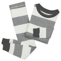 Toddler Boys' Burt's Bees Baby Rugby Stripe Organic Cotton Tight Fit 2-Piece Pajama Set Heather Grey : Target