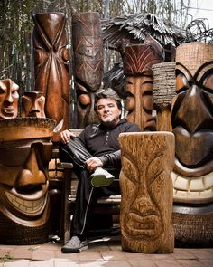 Hand-carved tiki sculptures- Anyone know who this is, and where we can buy some?!?